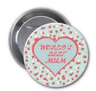 "Novelty Badge ""WORLD'S BEST MUM"" Ideal Christmas or Mothers' Day Gift Idea. Delivered in a black organza bag."